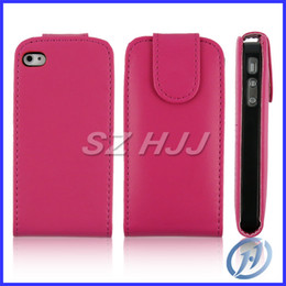 Wholesale Iphone Simple Flip Cases - Vertical Flip Leather Case Simple Design Pure Color Magnetic Folio Pouch For Apple iphone 4 4S 4G iphone 5 5G 5S