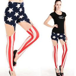 Wholesale Star Style Fashion Legging - Newest Fashion Skinny Leggings Punk Sexy Women's Vertical Stripes Stars Garter Leg Stretch Tights Pants Slim Thin Pop Trousers Feet