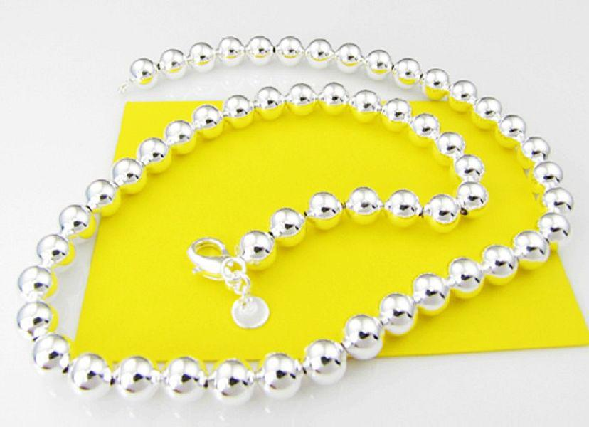 with tracking number Best NEW 925 STERLING SILVER 8MM BALL ROUND CHAINS NECKLACES JEWELRY