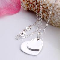 плоский сердечный подвес оптовых-10 шт. / лот женская партия подарок ювелирные изделия 925 посеребренные двойной плоский сердце кулон ожерелье