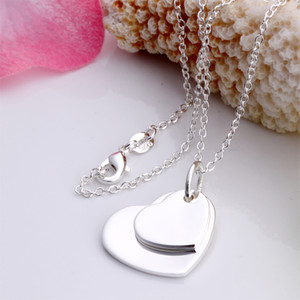 Wholesale 10pcs Women s party gift jewelry silver plated Double flat Heart pendant necklace
