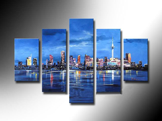 Framed 5 Panel Large New York City 5 Panel Canvas Wall Art Blue Picture Decoration Home Modern Oil Painting XD01741 New York City Online with $200.09/Set on ... & Framed 5 Panel Large New York City 5 Panel Canvas Wall Art Blue ...