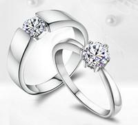 Wholesale Couple Ring Wholesale - Wholesale 925 sterling silver ring silver ring couple wedding ceremony diamond ring rhodium FY-J002