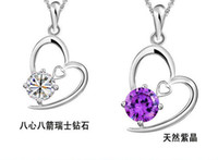 Wholesale Diamond Heart Pendant - Explosion models female models 925 sterling silver heart pendant necklace hand in hand purple diamond white diamond