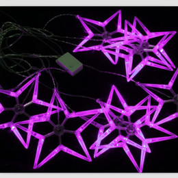 Wholesale Large Christmas Net Lighting - LED holiday decorative lantern string 3M large five-pointed star curtain light