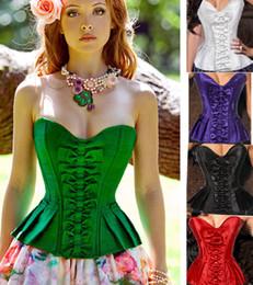 Wholesale Black Corset Xxl - Fall Gorgeous Ladies Women Satin Boned Corset tops knot Satin Plus Size Purple Lace Up Corset S-XXL 973