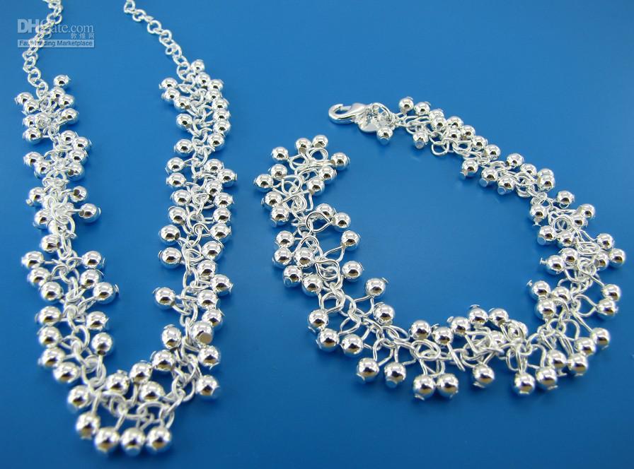 Frete grátis com número de rastreamento Melhor venda quente mulheres delicada jóias 925 conjunto de jóias de mistura de prata