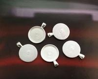 kolye tepsisi yuvarlak gümüş cabochon toptan satış-10 ADET Parlak Gümüş 25mm Yuvarlak Kolye Tepsileri Cabochon Ayarları # 23437