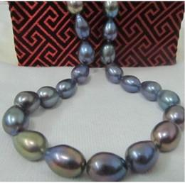 "Wholesale Buy Blue Necklace - Best Buy Pearl Jewelry Fine Natural 18"" TAHITIAN NATURAL BLACK GREEN BLUE REDISH PEARL NECKLACE 14KT LUSTER AAA"