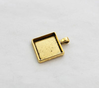 Wholesale Cabochon Trays - 10PCS Antiqued Gold 25mm Square Pendant Trays Cabochon Settings #23439