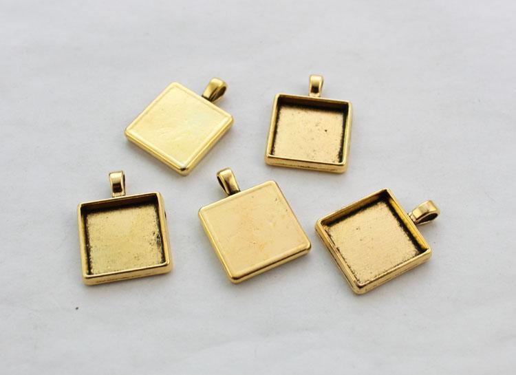10ピースアンティーク金25mm正方形ペンダントトレイカボションの設定#23439