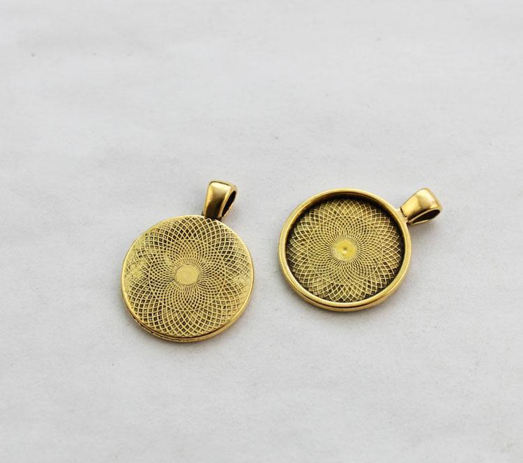 10st Antiqued Gold 25mm Round Pendant Brickor Cabochon Inställningar # 23440