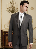 Wholesale Ties Grey Waistcoat - Handsome Cool!!High Quality Classic Grey Custom Size Groom Tuxedo(jacket+pant+tie+waistcoat)