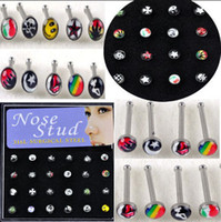 Wholesale Cheap Wholesale Piercing Jewelry - 240pcs Mixed Style Nose Ring Piercing Nose Studs Body Jewelry With Box Cheap Jewelry Unisex [NS11*10]