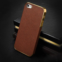 Wholesale Deluxe Iphone 5c Case - Deluxe Leather + Metal Electroplating Hard PC Case Cover Skin Shell Frame For iphone 4 4S iphone 5 5S 5C sliver gold bumper free shipping