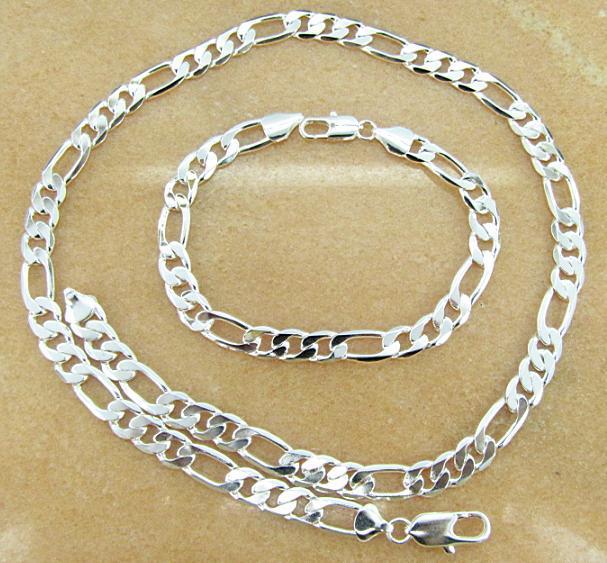 Freies Verschiffen mit Tracking-Nummer Beste 925 Silber Überzogene 8mm Männer Figaro Halskette Armbänder Set Schmuck