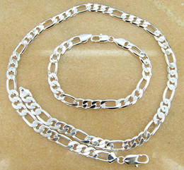 Discount track days - Free Shipping with tracking number Best 925 SILVER PLATED 8MM MEN'S FIGARO NECKLACE & BRACELETS SET JEWELRY