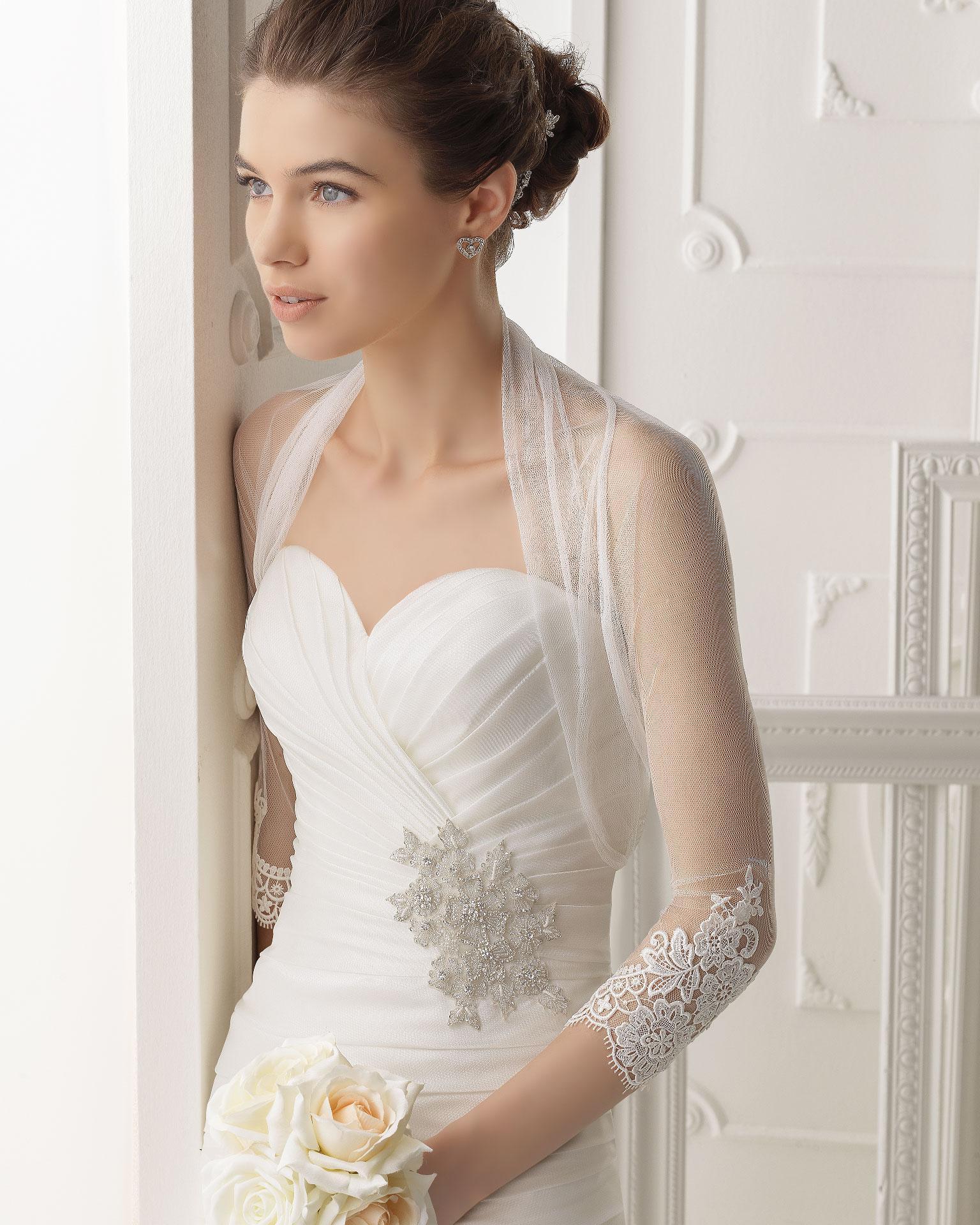 Hot Sale Bridal Bolero 3/4 Long Sleeves Tulle Lace Edge Graceful ...