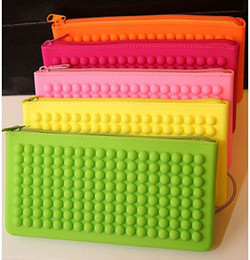 Wholesale Wholesale Cotton Candy Business - Wallets Girl fluorescent candy colored zipper wallet purse silicone