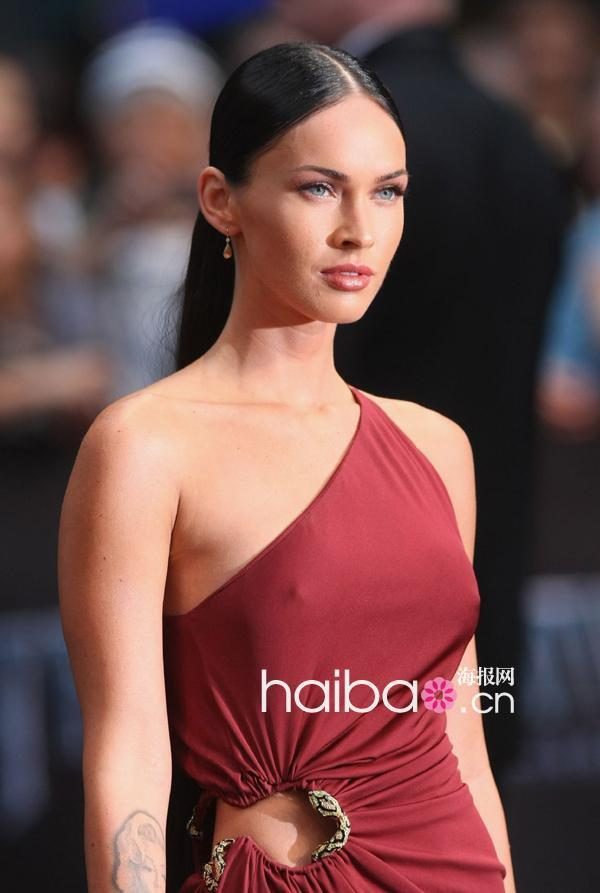 Megan Fox New Year Style sexy one shoulder side slit floor length long chiffon celebrity dress Evening Dresses