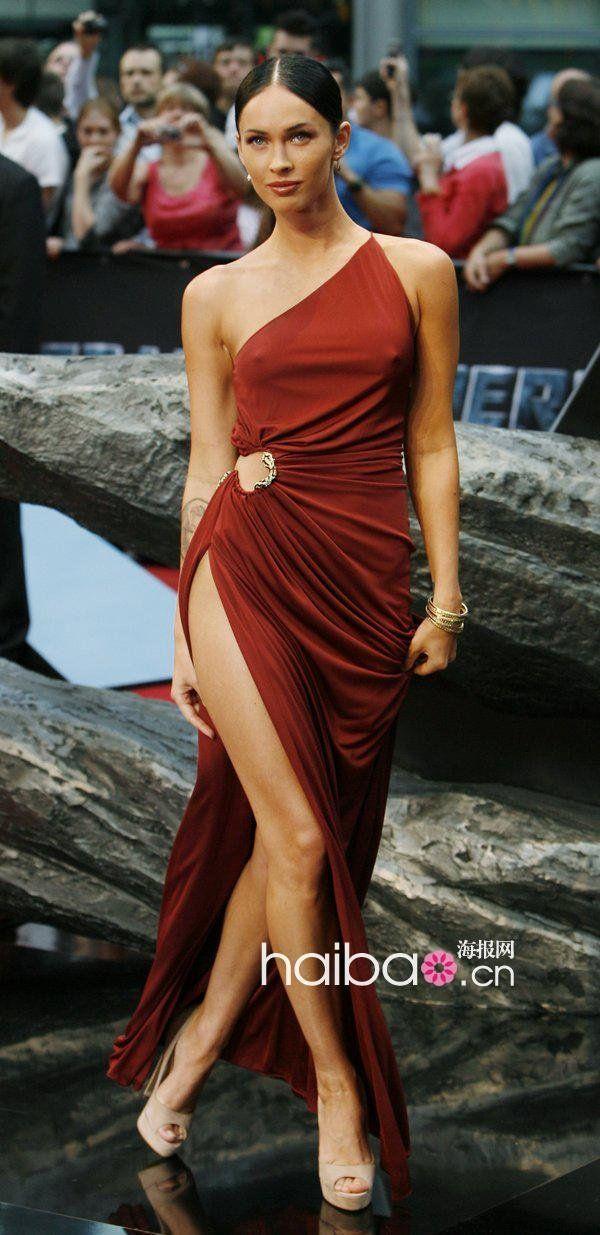 Megan Fox New Year Style Sexig One Shoulder Side Slit Golv Lång Lång Chiffon Kändis Klänning Evening Klänningar