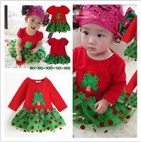 xmas etekler toptan satış-Perakende Xmas Bebek Kız Kısa Kollu Uzun Kollu Noel Ağacı Kırmızı Noktalar Elbise Çocuk Prenses Yeşil Etek Çocuklar Cadılar Bayramı Parti Giysileri