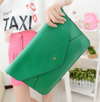 Wholesale Green Colored Handbags - lady Clutch Bags Girl candy colored Vintage envelope clutch bag handbag briefcase