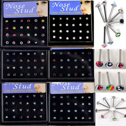 Wholesale Wholesale Nose Stud - 144 Pcs lot Brand New Womens Body Jewelry Nose Studs with Stainless Steel 6 Styles Free Shipping[NS6-NS12*1]