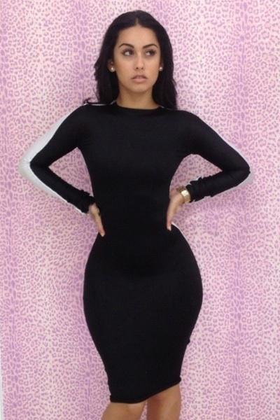 Fashion Wear estiramiento de Bodycon de los vestidos de manga larga vaina sin respaldo del partido de tarde del baile del club de negro atractiva blanca de señora Women LYQ3106