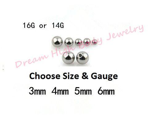 Bolas de acero inoxidable para tornillos de repuesto para joyería de cuerpo recambio Diámetro de la bola 14G 16G Ceja de labio Perno de oreja Barra para el vientre Fashion Threade Ball