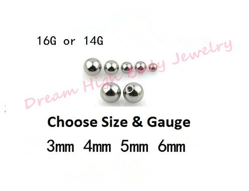 Ersatzstahl Screw Fit Bälle für Körperschmuck Piercing Replacment Ball Durchmesser 14G 16G Augenbraue Lip Ohrstecker Belly bar Fashion Ball Threade