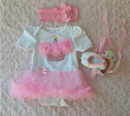 $enCountryForm.capitalKeyWord Canada - Fashion baby pink tutu skirt romper +bow toddler shoes + flower headband 3pcs set toddler fashion girls clothing set Christmas gifts suit