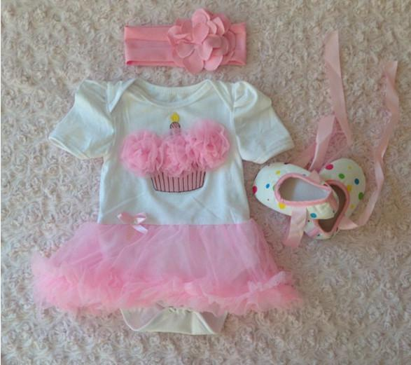 Fashion baby pink tutu skirt romper +bow toddler shoes + flower headband 3pcs/set toddler fashion girls clothing set Christmas gifts suit