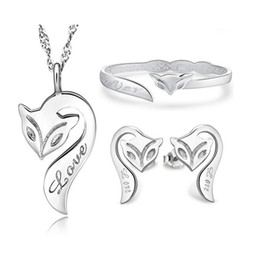 $enCountryForm.capitalKeyWord NZ - Bridal Jewelry Sets High Quality Women Bohemian Fox White Gold Plated 925 Sterling Silver Pendant Necklace Earrings Stud Bangle Bracelet