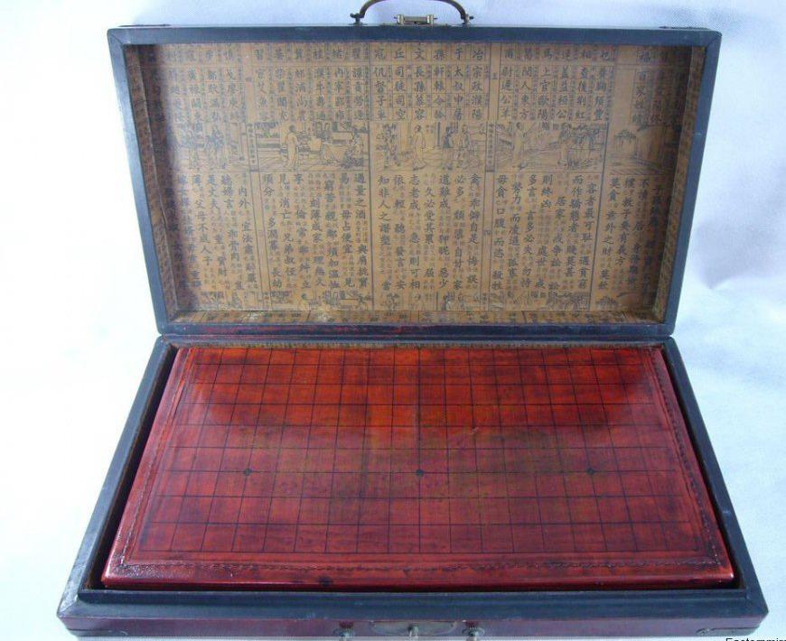 Wholesale cheap Chinese Go Game Set Leather Box Goban Board and Stones