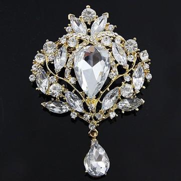 Guldpläterad 3,5 tums Tear Drop Clear Rhinestone Crystal Wedding Bridal Brosch Pin