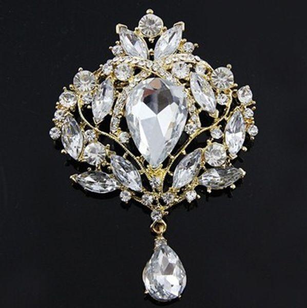 Gold Plated 3.5 Inch Tear Drop Clear Rhinestone Crystal Wedding Bridal Brooch Pin