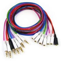 Wholesale Double Layer Cable - 7 Colors Mix 1M Double Layer 3.5mm Male to 3.5mm Female Stereo Audio Extension Cable For Headphone MP3 Music Player Phones 7pcs lot