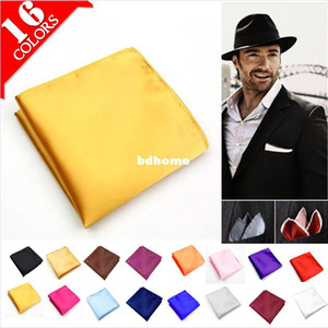Wholesale Male Mens Silk 100% Pocket Square Solid Color Towel Handkerchiefs Tower Snot-rag Hanky Hankies Free Shipping