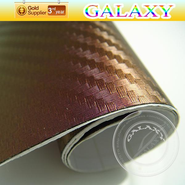 Camaleón de bronce con fibra de carbono, vinilo, película de tamaño 152x3000 cm. Camaleón de color cambiante. Camaleón 3D con burbujas gratis por Fedex.