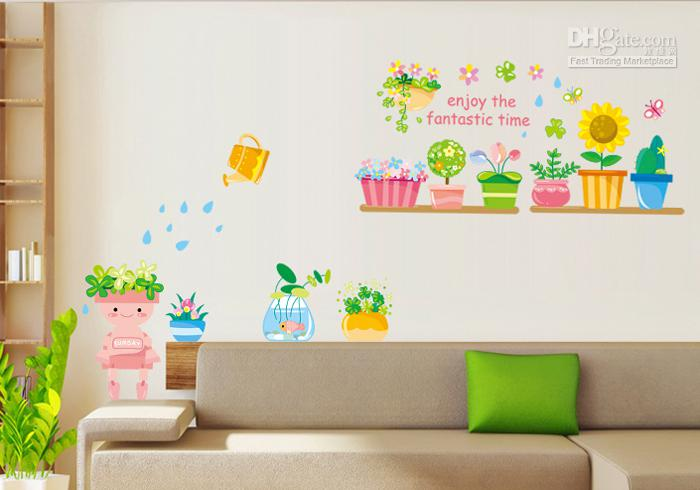 Funlife Xcmxin Pot Plants Flowers Butterfly Nature Lovely - Wall decals nature and plants