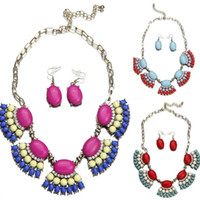 Ladies Resin Crystal Shell Bubble Bib Necklace Earrings Statement Choker Jewelry Set para Party GBK * 1