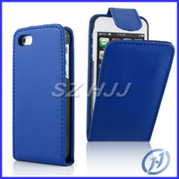 Wholesale Plastic Flip Case Iphone 4s - Flip Leather Case for iphone 4 4S 5 5S Smooth Vertical Snap On Hard Plastic Back Cases Cover
