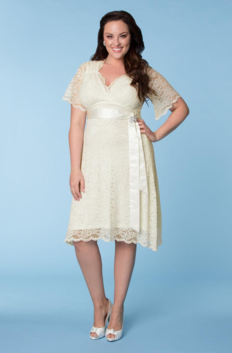 Best Selling Hottest Ivory Plus Size Lace Sash A-Line V-Neck Short Sleeves  Knee-Length Party Prom Dresses Evening Gown
