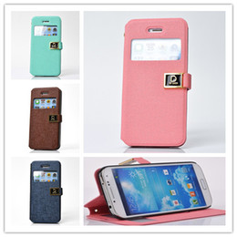 Wholesale Holder Galaxy Note2 - HOT D WORD Button Open window Flip cases PU Leather Stand holder Case Cover for iphone 5 5S 5C 4 4S Samsung Galaxy S3 S4 Note2 Note 3