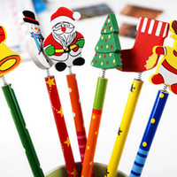 Wholesale Pencil Novelty Back - Novelty Christmas Gifts for Kids Back to School Christmas Theme Kids Cartoon Wooden Pencil with Springs