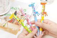 Wholesale Ball Pen Pencil - Stationery Cartoon Giraffe Rollerball Pens Ball-point Pen Lovely Pencil Children's Toys Gifts New Specials