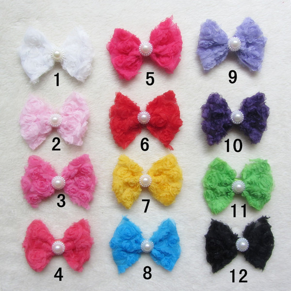 Mixed 12colors Small Chiffon ROSE Flower Bow Hair Accessories For Baptism/Christening Head Flowers