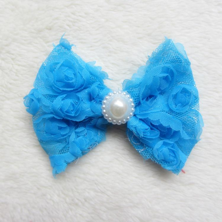 Mixed Small Chiffon ROSE Flower Bow Hair Accessories For Baptism/Christening Head Flowers