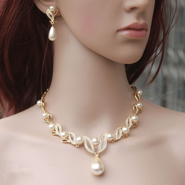 best selling Gold Plated Cream Pearl Drop Pearl and Rhinestone Crystal Bridal Necklace and Earrings Bridal Jewelry Sets